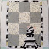 Gender neutral baby quilt - Safari nursery bedding item - Homemade baby crib quilt or blanket - Zebra bedding baby gift