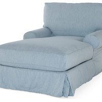Shabby Chic, Comfy Slipcovered Chaise, Blue, Chaise Longues