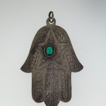 Vintage Sterling Silver Hamsa Hand Necklace Pendant with Green Glass Stone - Protection From Evil