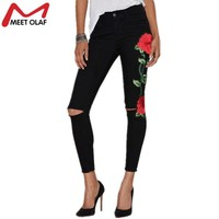 2017 Ripped Jeans For Women Rose Embroidery Skinny Long Denim Pencil Pants with Hollow out Holes Vintage Stretch Trousers YL603
