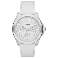 Fossil AM4484 Women's Cecile White Dial White Leather Strap Multifunction Watch