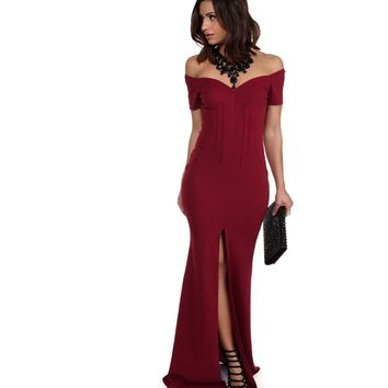 Hailey Burgundy Formal Dress