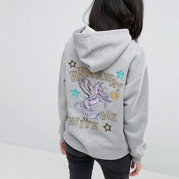 ASOS Hoodie with Customised Embroidery and Badges at asos.com