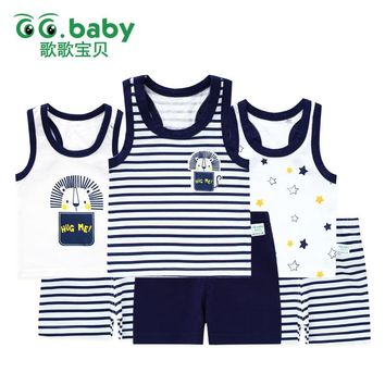 Baby Girl Boy Summer Clothes Set Sleeveless Baby Boy Vest Sets Tshirt Newborn Clothes Outfits Summer Suit For Boy Navy Clothing