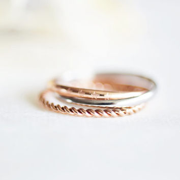 star twist set ring - rose gold titanium