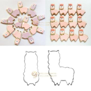 1pc Cute Cartoon Animal Alpaca Cookie Biscuit Cutter Stainless Steel Mold