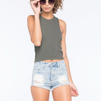 Full Tilt High Neck Sweater Knit Womens Tank Olive  In Sizes