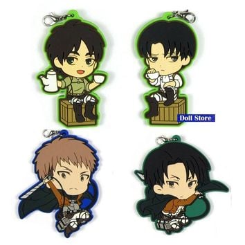 Cool Attack on Titan  Anime keychain Krista Lenz Rivaille Eren Armin Sasha Mantra Rubber strap/phone charms D195 AT_90_11