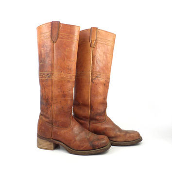Distressed Campus Boots Vintage 1970s Durango West Square Toe Cowboy Leather Women's 6 1/2