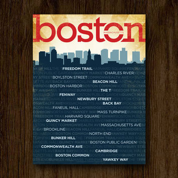 "Boston Neighborhoods Poster - Boston Skyline Art - 18""x24"""