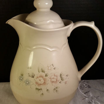 Pfaltzgraff Tea Rose Hot Cold Tea Coffee Thermos Serving Carafe Beverage Server Pitcher 1980s Dinnerware Vintage Kitchen Serving Thermos