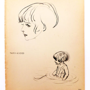 Fairy Kissed, Vintage Picture of Children at seaside - Vintage Drawings, Nursery art, JH Dowd, Black and white pencil drawing, Home Decor