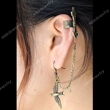 Punk Love's Arrows Ear Cuff Metal Bird Stud Earring Vintage Tassel Clip Wrap