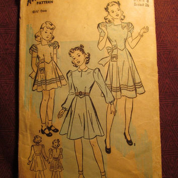 SALE Complete 1940's Advance Sewing Pattern, 2543! Size 8 Girls/Kids/Child/Retro Party Dress/Short Puffy Sleeves/Long Cuffed Sleeves/Flared