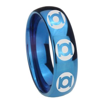 8MM Glossy Blue Dome Multiple Green Lantern Tungsten Carbide Laser Engraved Ring