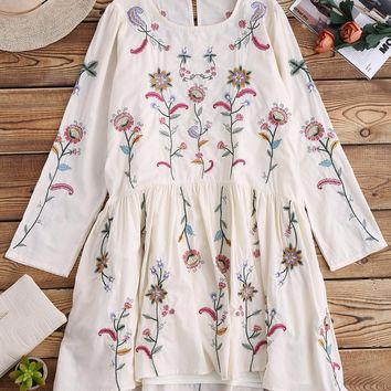 Long Sleeve Embroidered Smock Dress With Slip Dress
