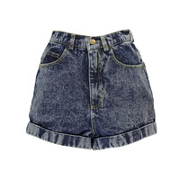 Lexi Acid Wash High Waisted Denim Shorts