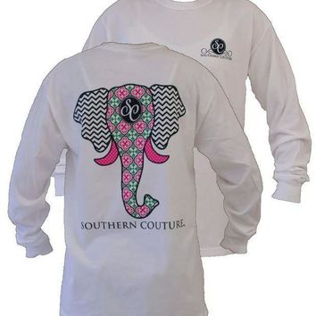 ESBQFN Southern Couture Preppy Elephant Chevron Pattern Comfort Colors White Girlie Long Sleeve Bright T Shirt