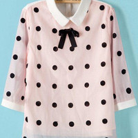 Pink Mesh Polka Dot Short Sleeve Pointed Flat Collar Blouse