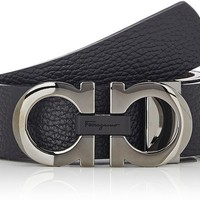 Salvatore Ferragamo black reversible adjustable belt