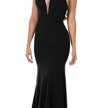 Deep V-Neck Halter Long Prom Dress Black