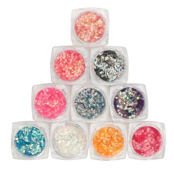 Fish Scale Laser Luster Nail Art Decoration Tips Set Sequins Mermaid Hexagon Glitter Manicure Sheets