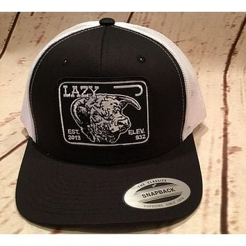 Lazy J Branded Black and White Elevation Hereford Patch Rodeo Trucker Mesh
