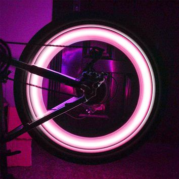 Newclue Led Flash Tyre Wheel Valve Cap Light For Car Bike Bicycle Motorbicycle Wheel Light Tire 2-Pack for 2 Tires