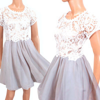 Embroidery silky Lace / shiffon party/ cocktail / bridesmaid /prom / evening dress