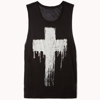 Metallic-Trimmed Cross Muscle Tee