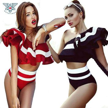 DCCKL6D High Waist Swimsuit 2017 Retro Style Ruffle Bikini Swimwear 2 Piece Bathing Suit Vintage Off Shoulder Swimsuits Maillot De Bain