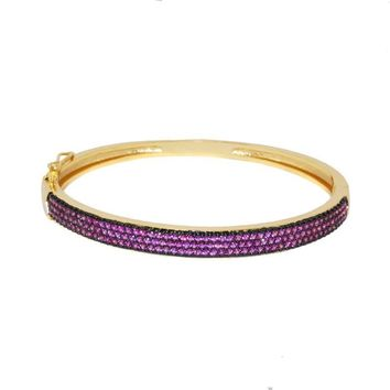 Tuyen Ruby CZ Goldtone Bangle Bracelet