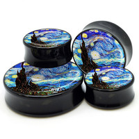 "1 pc Starry night Plug gauges (00g - 1-1/2"" // 10mm - 38mm)"
