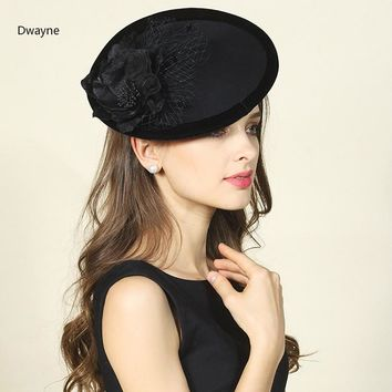 2017 High End Women Beret Cap Elegant Ladies Wool Felt Fedora Veil Headwear Flower Hat Horse Race Party Fascinator Headband