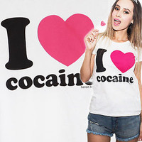 I Love COCAINE Pink Heart DOPE grunge SWAG tumblr Girly T Shirt