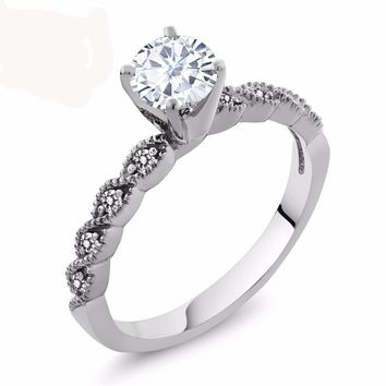 0.82 Ct Round White Created Moissanite White Diamond 925 Sterling Silver Ring
