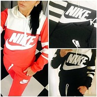NIKE Sport suit color matching stitching letters printing Contrast hooded fashion suits