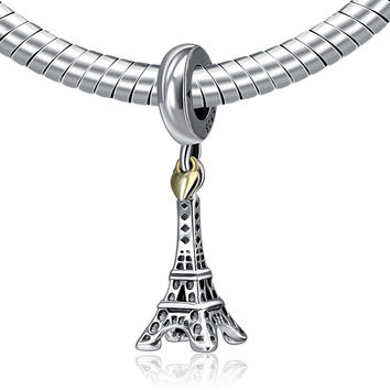 Authentic 925 Sterling Silver Bead Charm Paris Eiffel Tower & Gold Heart Pendant Beads Fit Pandora DIY Bracelets Jewelry YW20497