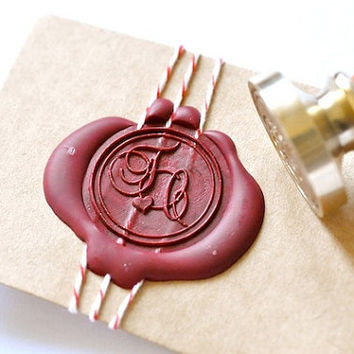 Custom Wax Seal Stamp - Initials Heart Script x 1