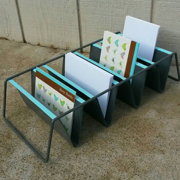 Tiffany Blue Silver Office Mail Sorter Bill Holder Gray Storage Letter Organizer Desktop Business or Thank You Card Display Desk Rack  Metal