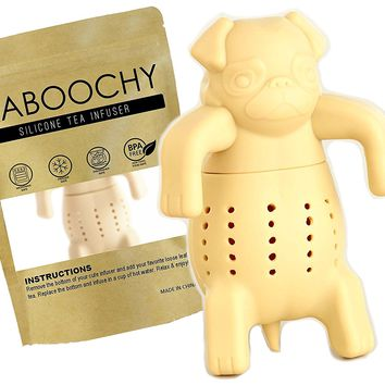 KABOOCHY Pug Life Silicone Tea Infuser, Cute Loose Leaf Tea Strainer, Beige Color