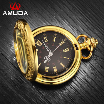 Roman Numerals Pocket Watches Steampunk Antique Pocket Watch With Chain Luxury Brand AMUDA Quartz  Gold Pocket Watch