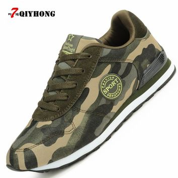 QIYHONG Fashion Lovers Canvas Shoes Camouflage Military Women Casual Shoes Autumn Breathable Camo Flats Women Chaussure Femme
