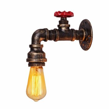 Retro Loft Wall Light Industrial Iron Rust Water Pipe Lamp Vintage E27 Sconce Lights Steampunk House Lighting Wall Fixtures