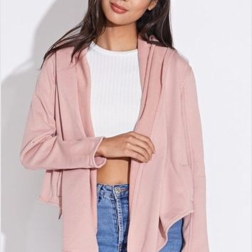 Blue Blush French Terry Open Jacket