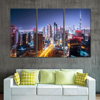 Unframed Modern Oil Painting Canvas Art Print Posters City Landscape Wall Pictures for Living Room Wall Art Home Decor 3 Pieces
