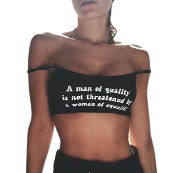 A man of quality Letter Print Sexy Women Sleeveless Crop Tops Short Vest Backless Halter Tank Tops T-Shirt Everyday Black Camis