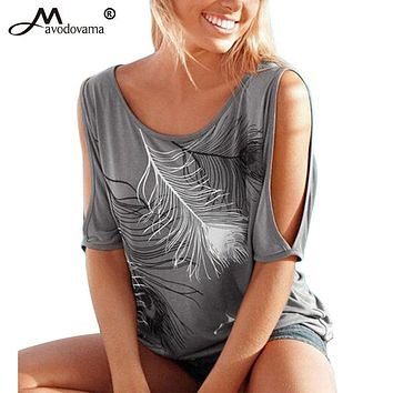 Summer Casual Tops Sexy Women Feather Print Short Sleeve Off Shoulder Round Neck Loose Blouse Shirt