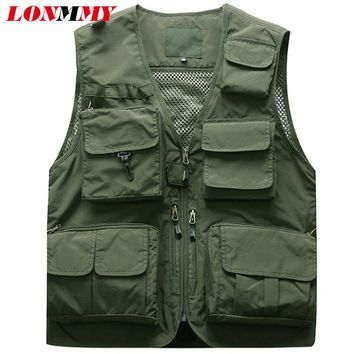 LONMMY Vests male with many pockets Sleeveless jacket men vest Military jacket men coats bomber Outerwear veste homme Army green