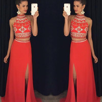 Two Piece Prom Dress,Slit Satin Red Long Prom Dresses,Evening Dresses